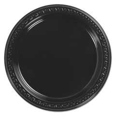 Chinet, 7 in, Plastic Plates, Heavy-Weight, Round, Black, 8-125/Case