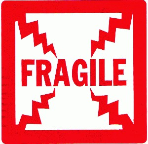 "4"" x 4"", ""FRAGILE"" Labels, 500/Roll"