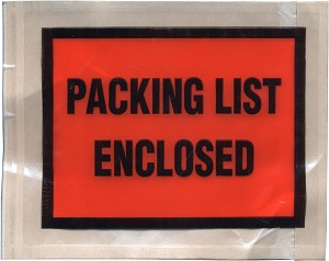 "4½"" x 5½"", ""Packing List Enclosed"" Envelope, 1000/Box"