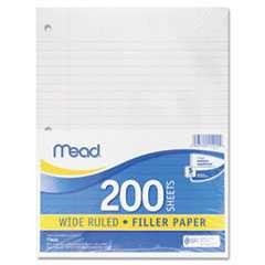 #MEA15200 - Filler Paper, 15-lbs., Wide Ruled, 3-hole punched, 10-1/2 x 8, 200 Sheets/Pack