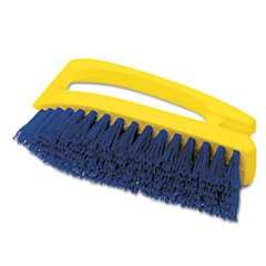 "#RCP6482COB - Rubbermaid, 6"", Scrub Brush, Iron-Shaped, Polypropylene Bristles, Yellow/Blue"