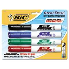 Great Erase Grip Dry Erase Markers, Chisel, Assorted, 4/Set