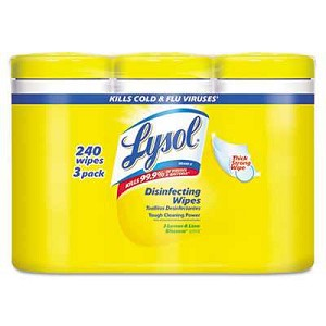 Lysol, Disinfectant Wipes, Lemon/Lime, 80 Wipes/Canister, 3 Canisters/Pack, 2 Packs/Carton- CURRENTLY OUT OF STOCK!