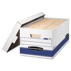 "#FEL00701 - Stor/File Storage Box, Letter, Lift Lid , 12"" x 24"" x 10"", White/Blue 12/Carton"