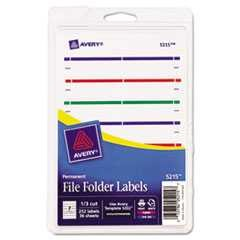 "#AVE05215 - Print or Write File Folder Labels, 11/16"" x 3-7/16"", White/Assorted Bars, 252/Pk"