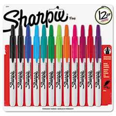 #SAN32707 - Retractable Permanent Markers, Fine Point, Assorted Colors, 12/Set