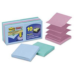 "#MMMR33010SST - Post-It® Super Sticky Pop-Up Notes, 3"" x 3"", Bora Bora Colors, 90 Sheets/Pad, 10 Pads/Pack"