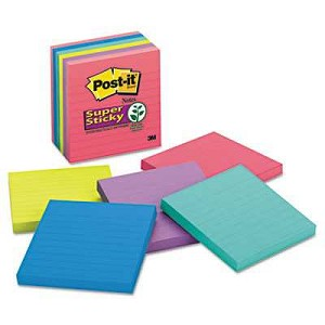 "#MMM6756SSUC - Post-It® Super Sticky Notes, 4"" x 4"", Rio de Janeiro, Lined, 90 Sheets/Pad, 6 Pads/Pack"