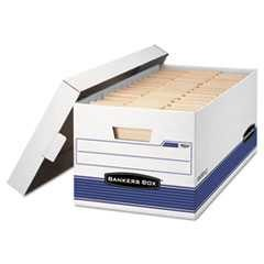 #FEL0070104 - Stor/File Storage Box, Letter, Locking Lid, White/Blue, 4/Carton