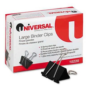 "Large Binder Clips, Steel Wire, 1"" Capacity, 2"" Wide, Black/Silver, 12/Pack"