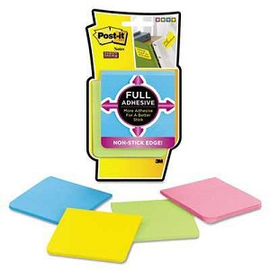 "Post-It® Full Adhesive Notes, 3"" x 3"", Rio de Janeiro Colors, 25 Sheets/Pad, 4 Pads/Pack"