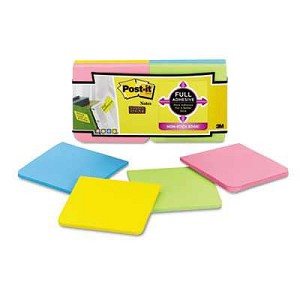 "Post-It® Full Adhesive Notes, 3"" x 3"", Jaipur Colors, 25 Sheets/Pad, 12 Pads/Pack"