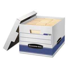 #FEL0078907 - Quick/Stor Storage Box, Letter/Legal, Locking Lid, White/Blue, 4/Carton