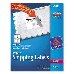 #AVE5168 - Shipping Labels with TrueBlock Technology, 3-1/2 x 5, White, 400/Box