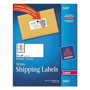 Shipping Labels with TrueBlock Technology, 2 x 4, White, 250/Pack
