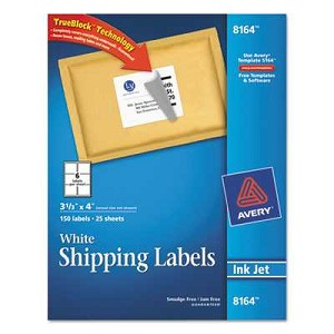 "#AVE8164 - Shipping Labels with TrueBlock Technology, 3 1/3"" x 4"", White, 150/Pack"