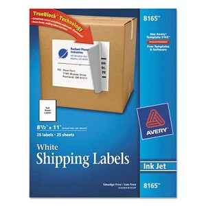 "#AVE8165 - Shipping Labels with TrueBlock Technology, 8½"" x 11"", White, 25/Pack"