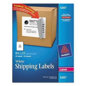 #AVE5265 - Shipping Labels with TrueBlock Technology, 8-1/2 x 11, White, 25/Pack