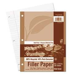 Ecology Filler Paper, 8 x 10-1/2, Wide Ruled, 3-Hole Punch, White, 150 Sheets/Pack