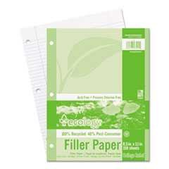 #PAC3202 - Ecology Filler Paper, 8-1/2 x 11, College Ruled, 3-Hole Punch, WE, 150 Sheets/Pack