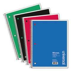 #UNV66600 - Wirebound Notebook, 8-1/2 x 11, College Ruled, 100 Sheets, Assorted Color Cover