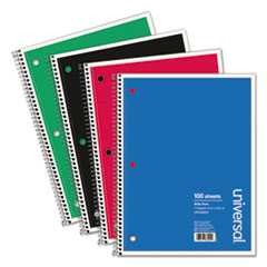 #UNV66620 - Wirebound Notebook, 8 x 10-1/2, Wide Ruled, 100 Sheets, Assorted Color Cover
