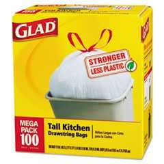 "#CLO78526CT - Glad, 24"" x 27 3/8"", .95 mil, Drawstring Bags, Kitchen, Tall, 13 Gallon, White, 4-100/Case"