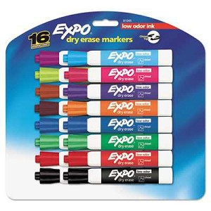#SAN81045 - Low Odor Dry Erase Markers, Chisel Tip, Assorted, 16/Set