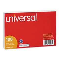 "#UNV47230 - Ruled Index Cards, 4"" x 6"", White, 100/Pack"