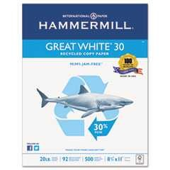 "#HAM86700 - Great White Recycled Copy Paper, 20lb, 8½"" x 11"", 92 Brightness, White, 500 Sheets/Ream, 10 Reams/Case"