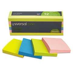 "#UNV35612 - Self-Stick Notes, 3"" x 3"", 4 Neon Colors, 100 Sheets/Pad, 12 Pads/Pack"