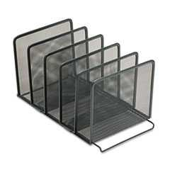 "#ROL22141 - Mesh Stacking Sorter, Five Sections, Metal, 8½"" x 14¼"" x 7½"", Black"