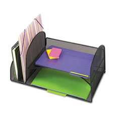 "#SAF3264BL - Desk Organizer, Two Vertical/Two Horizontal Sections, 17"" x 10 3/4"" x 7 3/4"", Black"