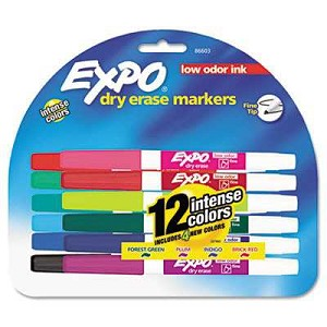 #SAN86603 - Low Odor Dry Erase Markers, Fine Point, Assorted, 12/Set