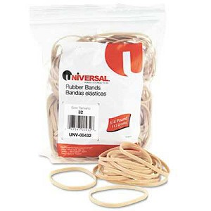 "Rubber Bands, Size 32, 3"" x 1/8"", 185 Bands/Pack"