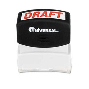 #UNV10049 - Message Stamp, DRAFT, Pre-Inked/Re-Inkable, Red