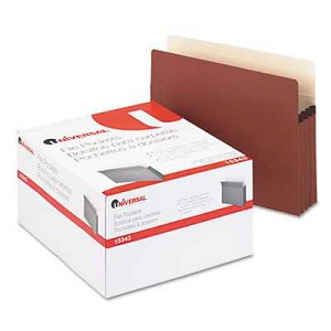#UNV15343 - 3 1/2 Inch Expansion File Pockets, Straight Tab, Letter, Redrope/Manila, 25/Box