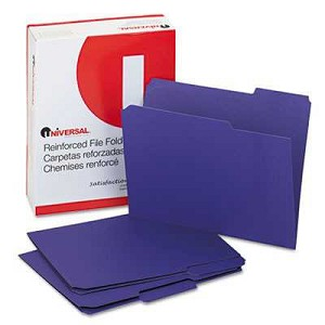 #UNV16165 - Colored File Folders, 1/3 Cut Assorted, Two-Ply Top Tab, Letter, Violet, 100/Box