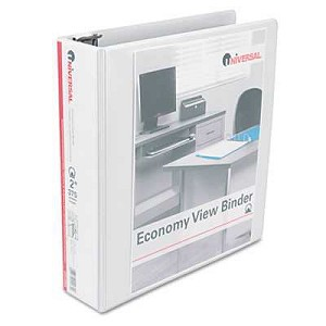 "#UNV20982 - Round Ring  Vinyl View Binder, 2"" Capacity, White"