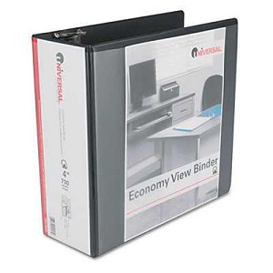 "#UNV20995 - Economy D-Ring Vinyl View Binder, 4"" Capacity, Black"
