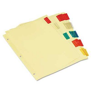 #UNV21870 - Insertable Index, Multicolor Tabs, 5-Tab, Letter, Buff, 6 Sets/Pack