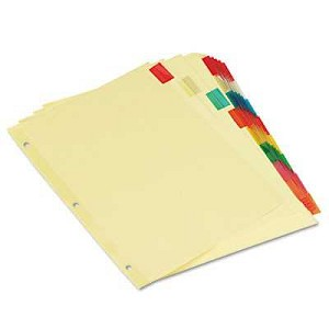 #UNV21872 - Insertable Index, Multicolor Tabs, 8-Tab, Letter, Buff, 6 Sets/Pack