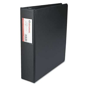 "#UNV34411 - Suede Finish Vinyl Round Ring Binder With Label Holder, 2"" Capacity, Black"