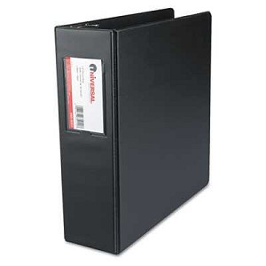 "#UNV35411 - Suede Finish Vinyl Round Ring Binder With Label Holder, 3"" Capacity, Black"