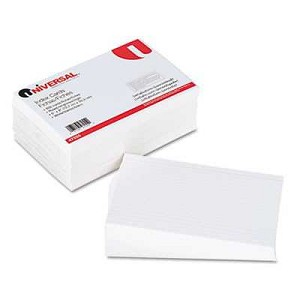 "#UNV47255 - Ruled Index Cards, 5"" x 8"", White"