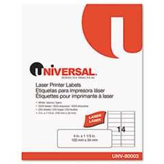 #UNV80003 - Laser Printer Permanent Labels, 1-1/3 x 4, White